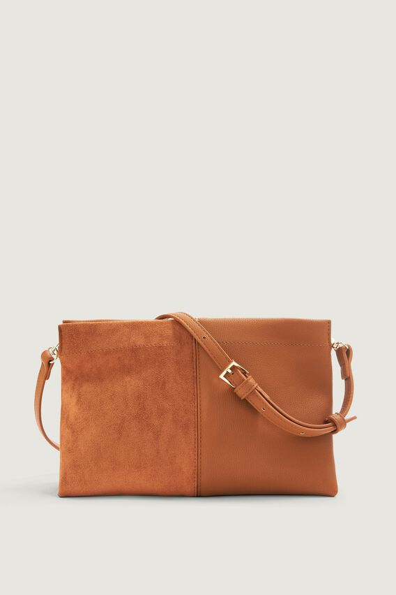 TWO TONE CROSS BODY BAG  TAN  hi-res