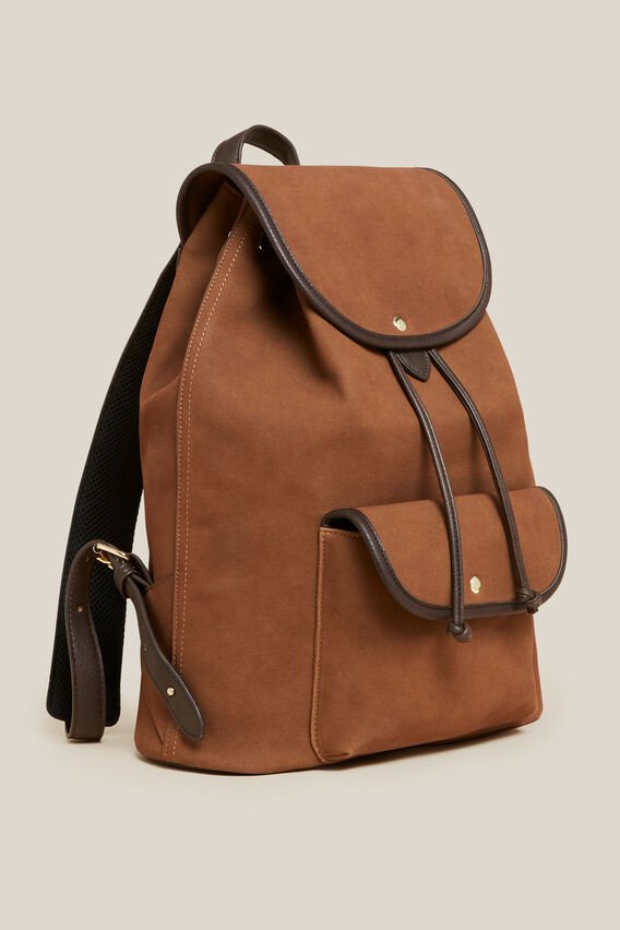 FAUX SUEDE BACKPACK  TOBACCO  hi-res