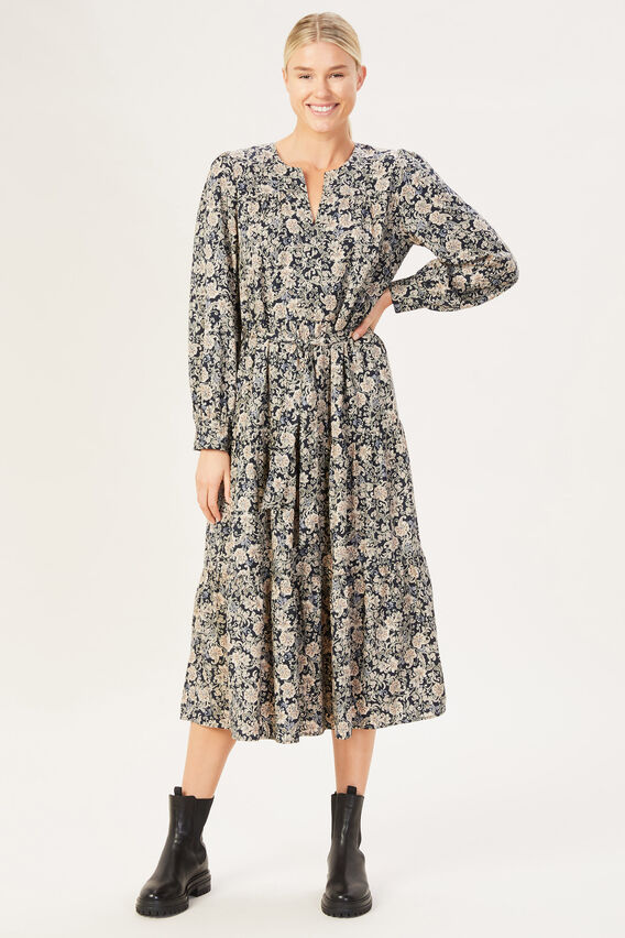 PAISLEY TIERED DRESS  MULTI  hi-res