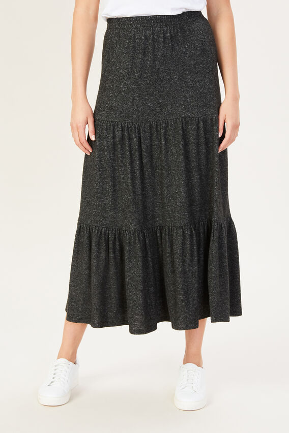 COSY TIERED SKIRT  CHARCOAL MARLE  hi-res