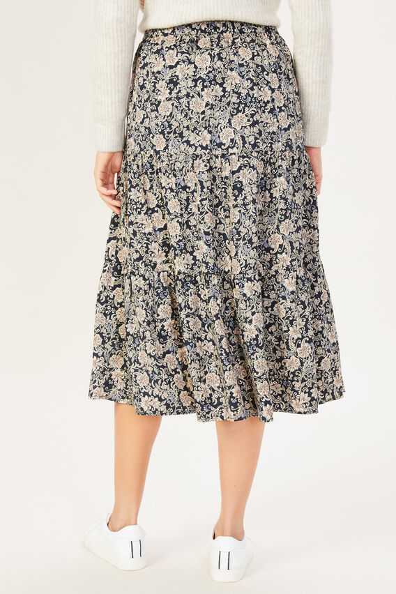 PAISLEY TIERED SKIRT  MULTI  hi-res