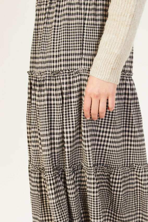 TEXTURED CHECK SKIRT  BLACK/ECRU CHECK  hi-res