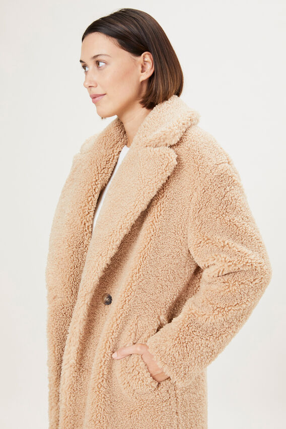LONGLINE TEDDY COAT  CAMEL  hi-res
