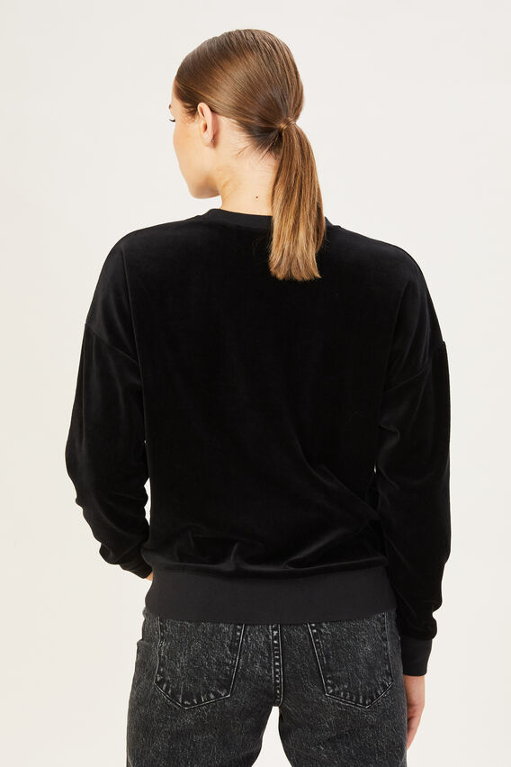 VELOUR SWEAT TOP  BLACK  hi-res