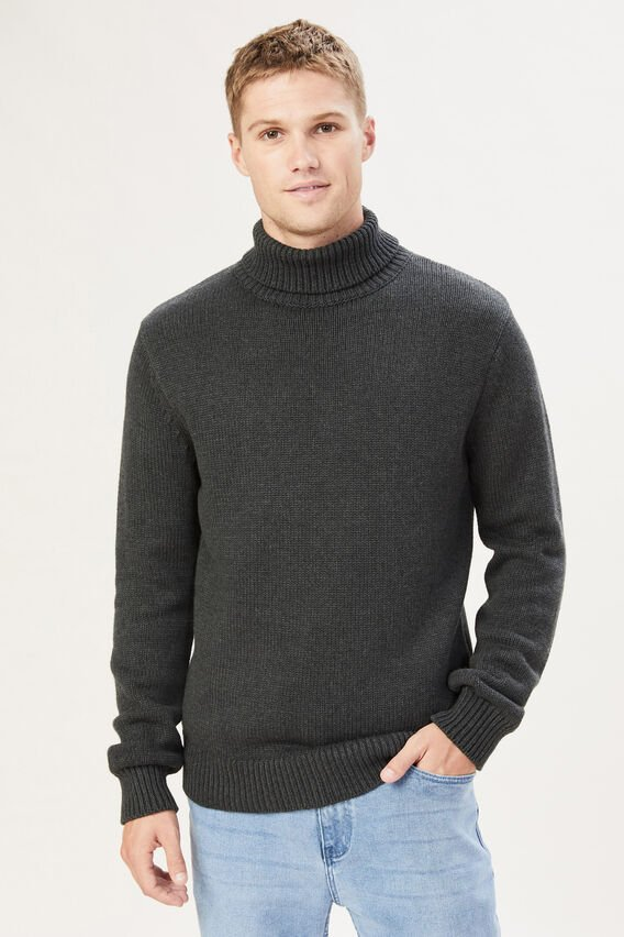 ROLL NECK KNIT  CHARCOAL MARLE  hi-res