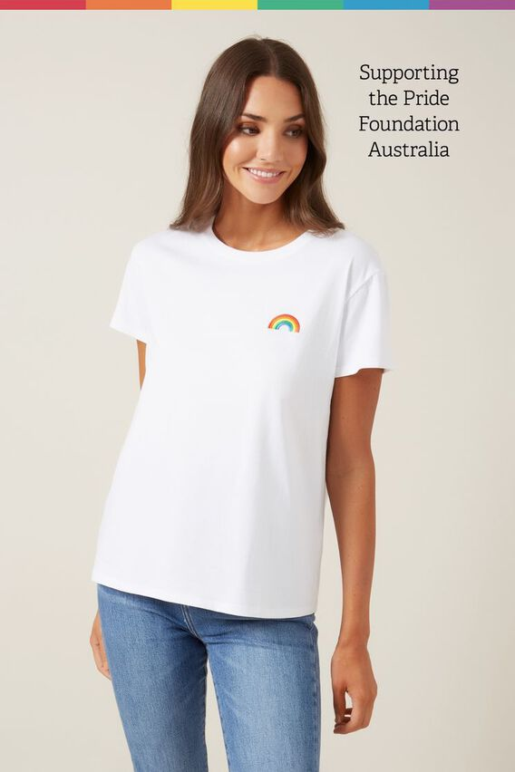 EMBROIDERED RAINBOW T-SHIRT  WHITE/MULTI  hi-res