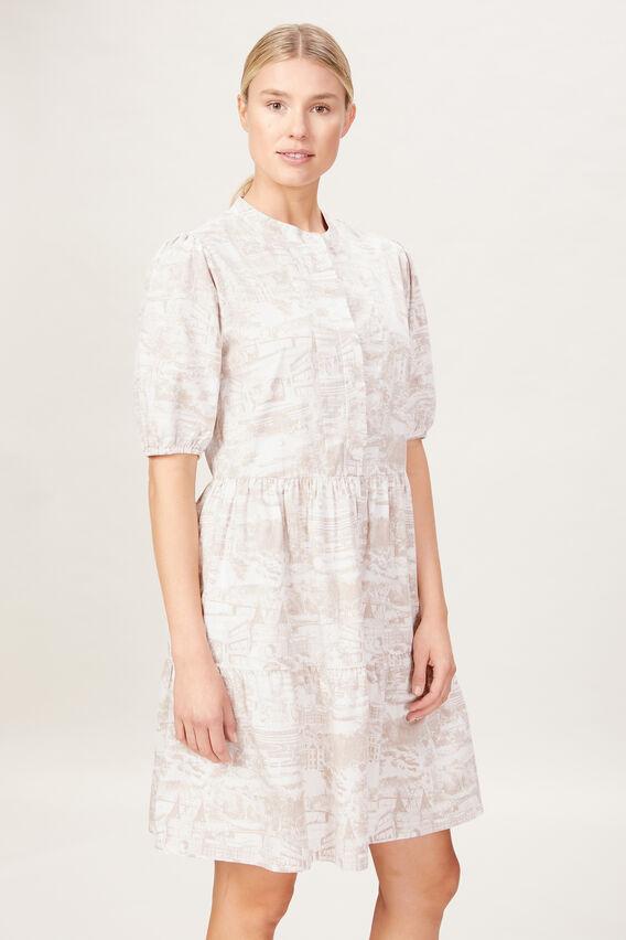 SCENIC PRINT DRESS  CAMEL/ECRU  hi-res