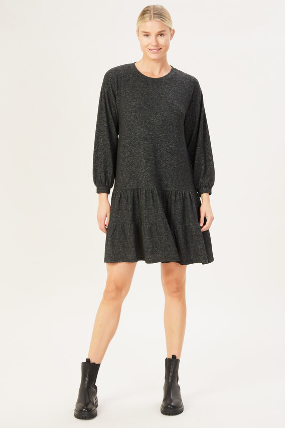 TIERED COSY DRESS  CHARCOAL MARLE  hi-res