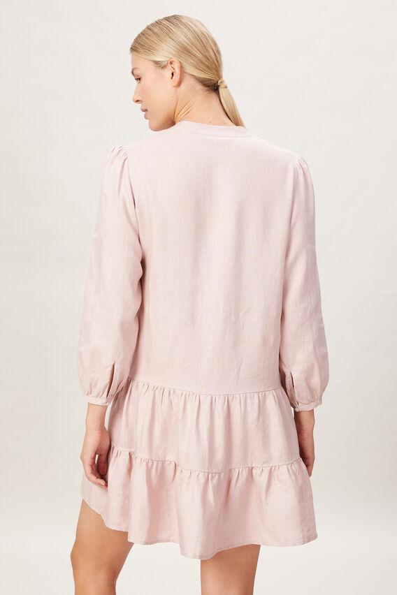 FRENCH LINEN V-NECK DRESS  DUSTY PINK  hi-res