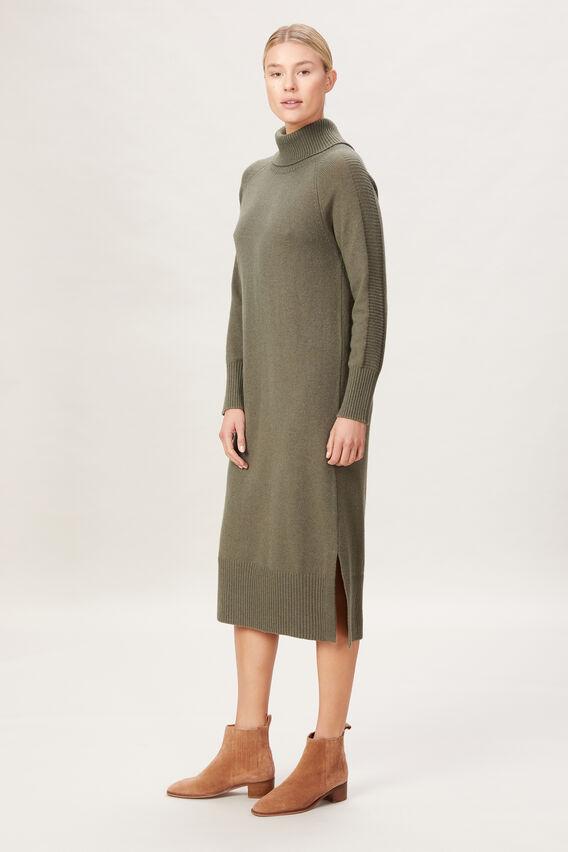 HIGH NECK KNIT DRESS  WASHED OLIVE  hi-res