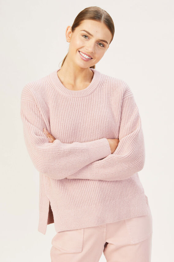 RELAXED SIDE SPLIT KNIT  DUSTY PINK  hi-res