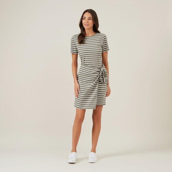 JERSEY STRIPE WRAP DRESS  KHAKI/WHITE  hi-res