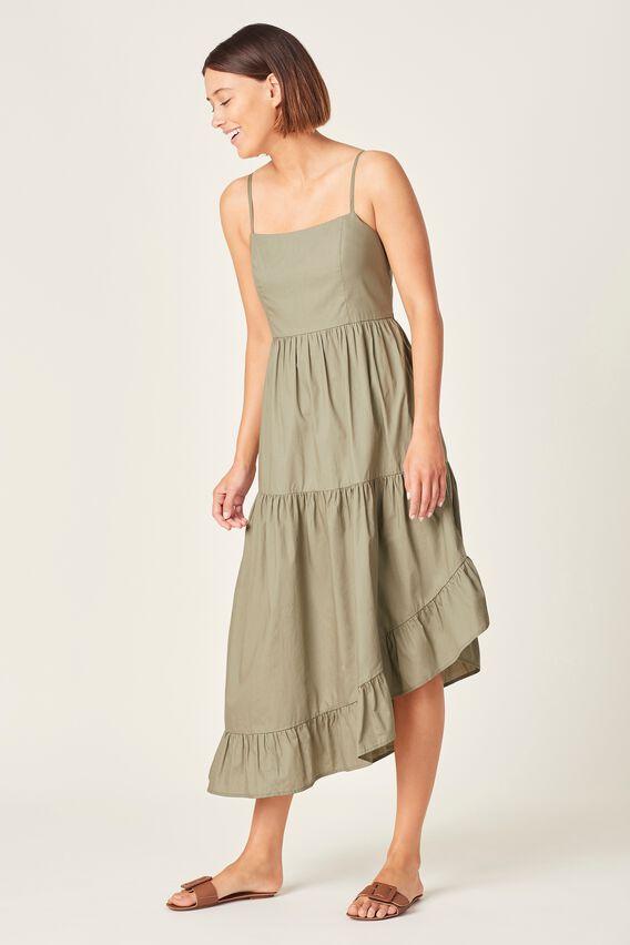 ASYMMETRICAL COTTON DRESS  WASHED SAGE  hi-res