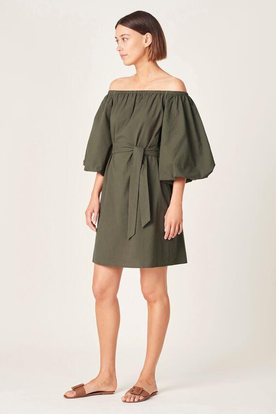 OFF SHOULDER TEXTURED DRESS  OLIVE  hi-res