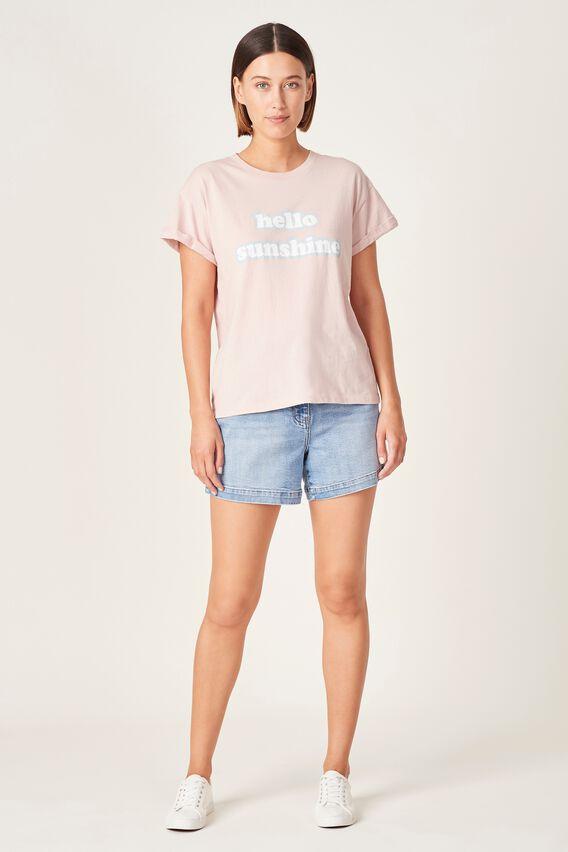 HELLO SUNSHINE T-SHIRT  SOFT PINK  hi-res