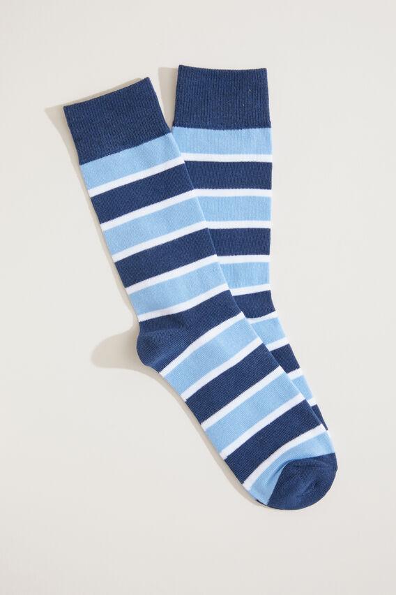 BLOCK STRIPE 1PK SOCKS  BLUES  hi-res