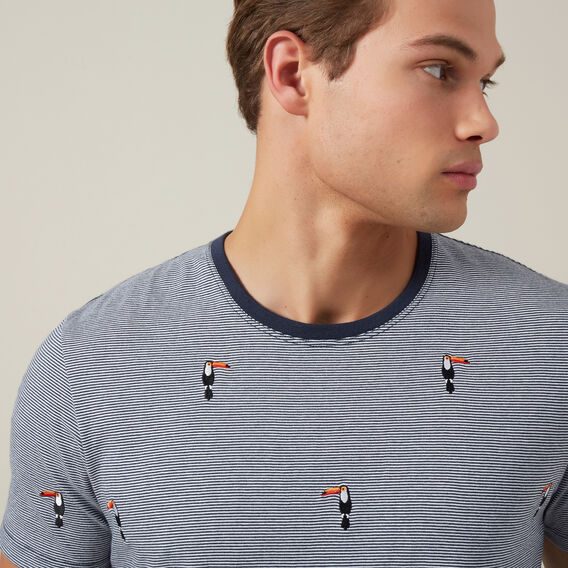 EMBROIDERED TOUCAN T-SHIRT  NAVY/WHITE  hi-res