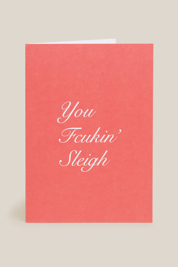 YOU FCUKING SLEIGH CARD  RED  hi-res
