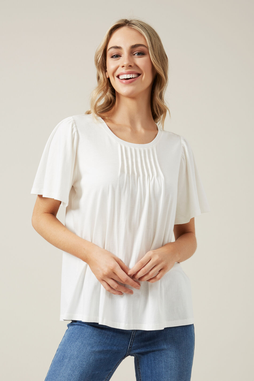 PLEATED FLUTTER SLEEVE TEE  OFF WHITE  hi-res