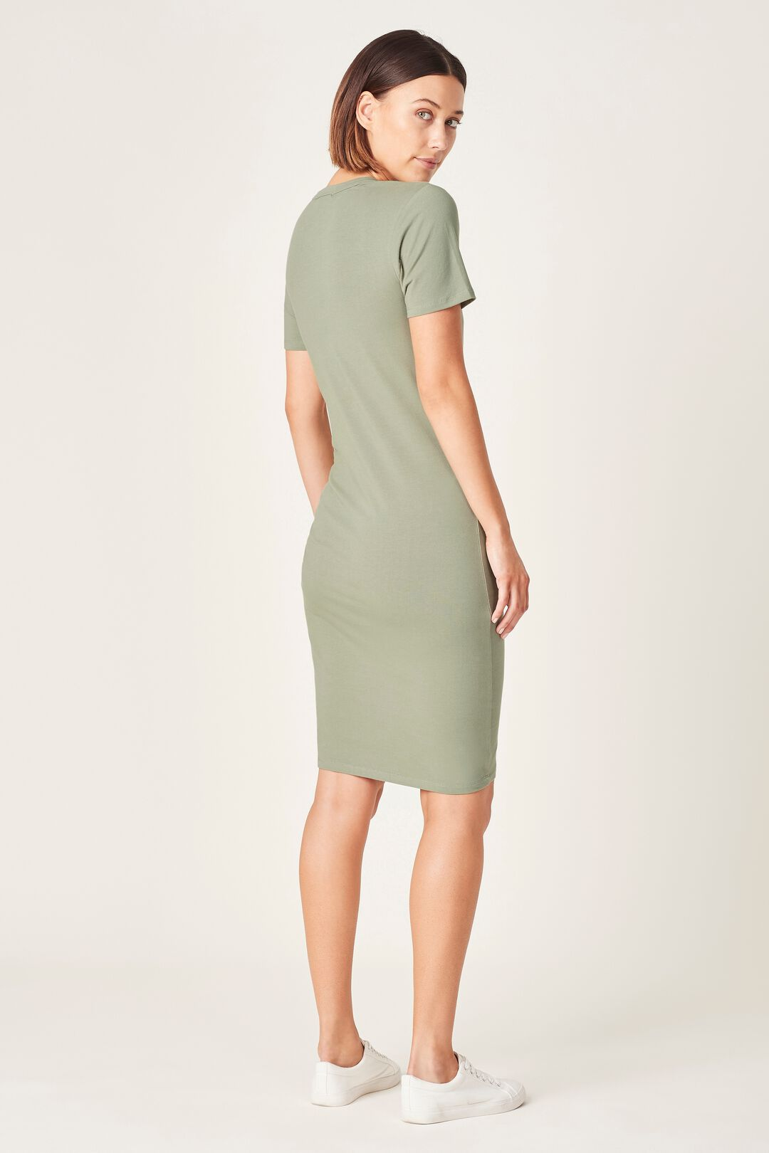 RUCHED RELAXED TEE DRESS  WASHED SAGE  hi-res