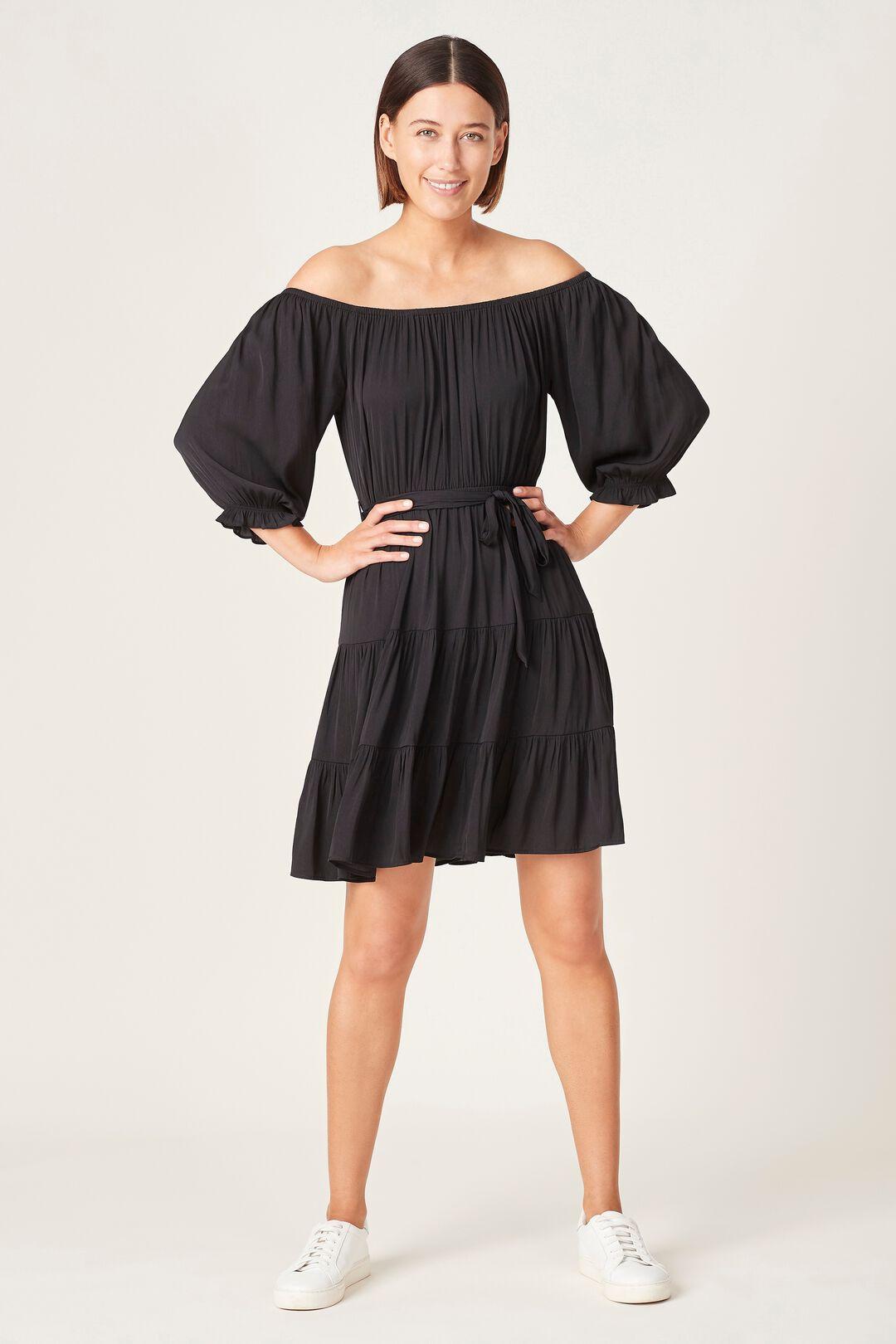 OFF SHOULDER BELTED DRESS  BLACK  hi-res