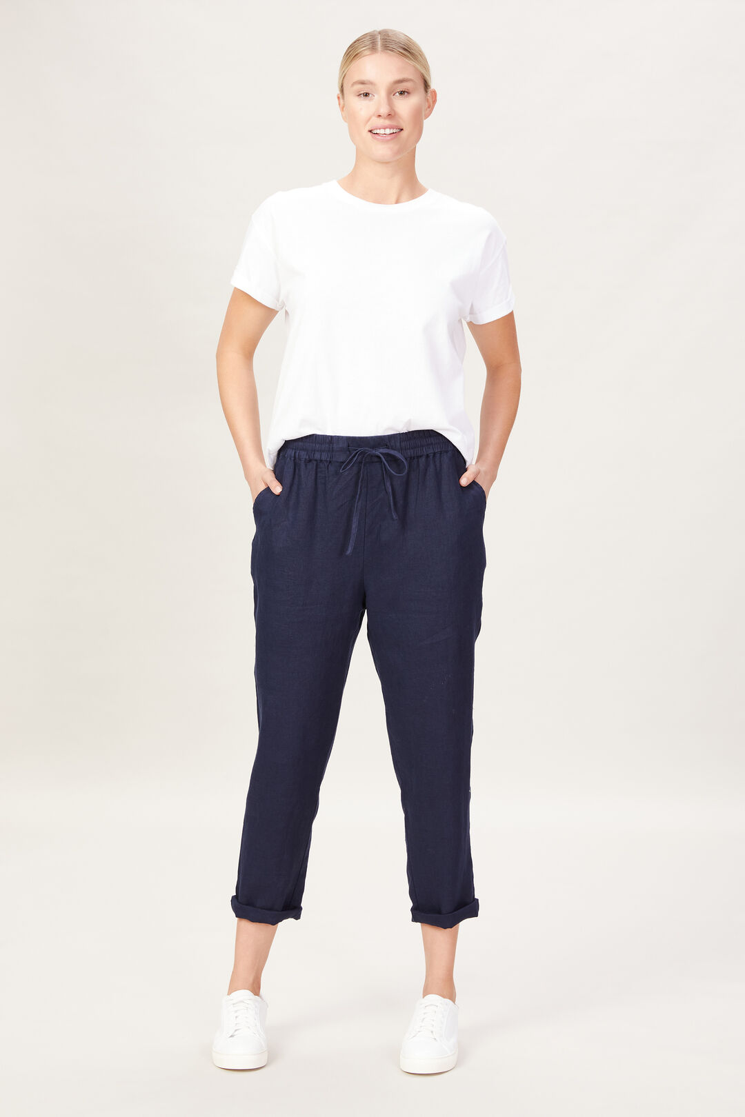 FRENCH LINEN RELAXED PANT  FRENCH NAVY  hi-res