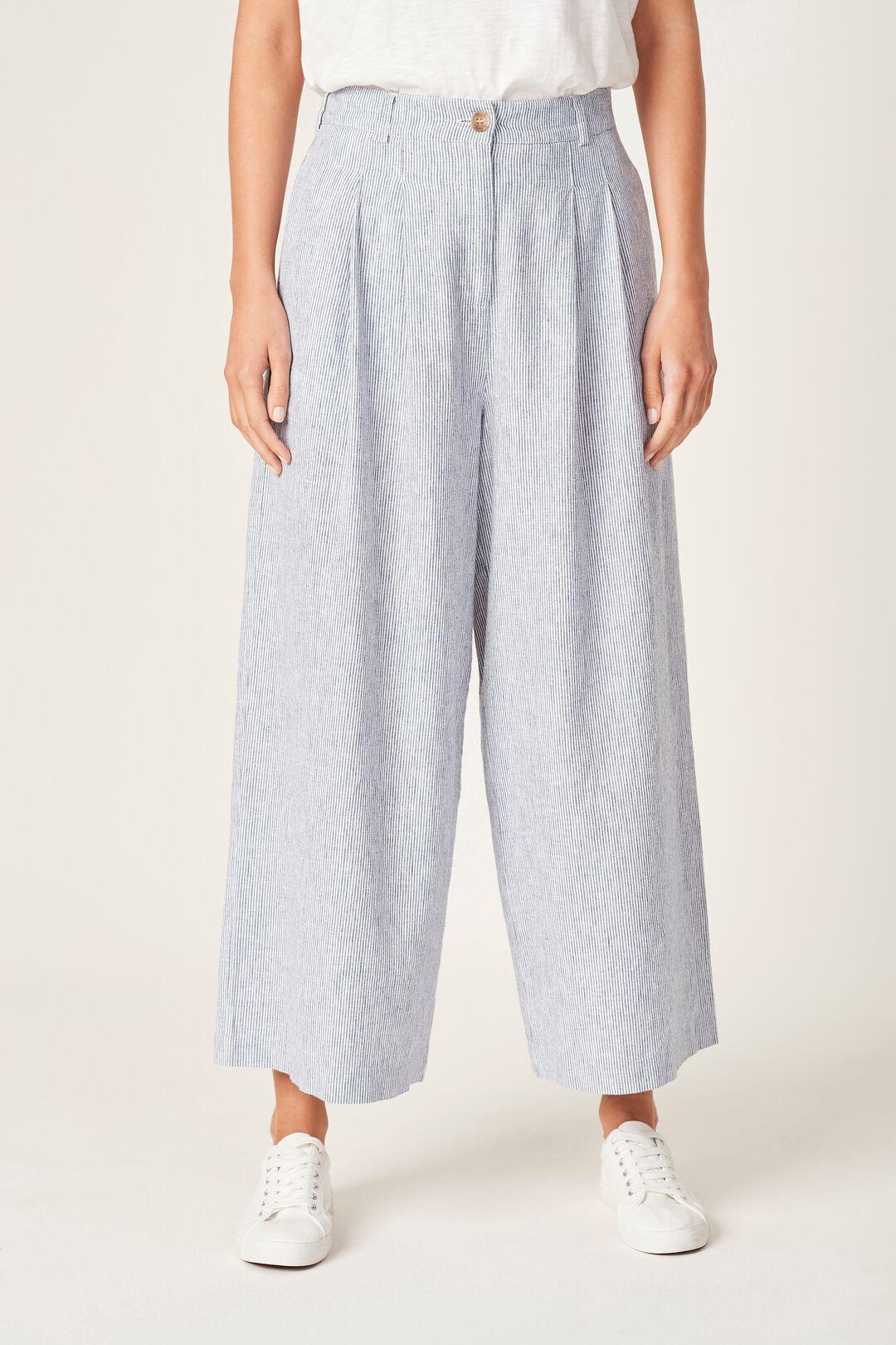 LINEN WIDE LEG PANT  NAVY/WHITE  hi-res