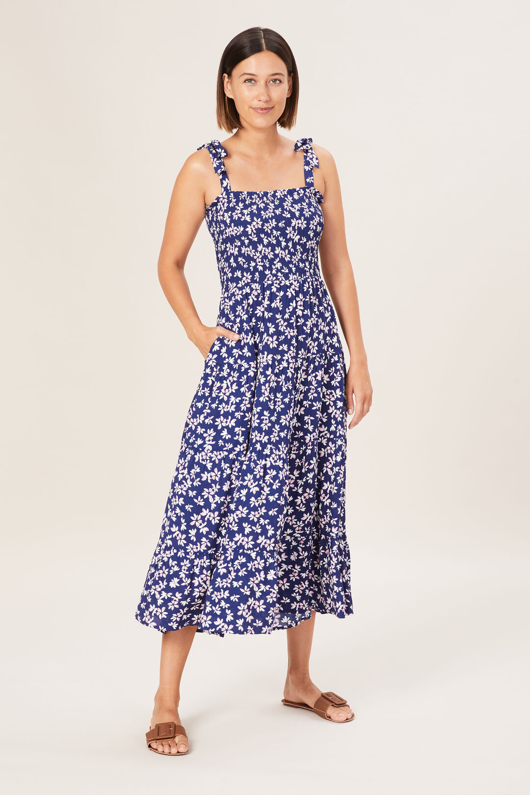 TIE SHOULDER TIERED DRESS  ABSTRACT DAISY  hi-res