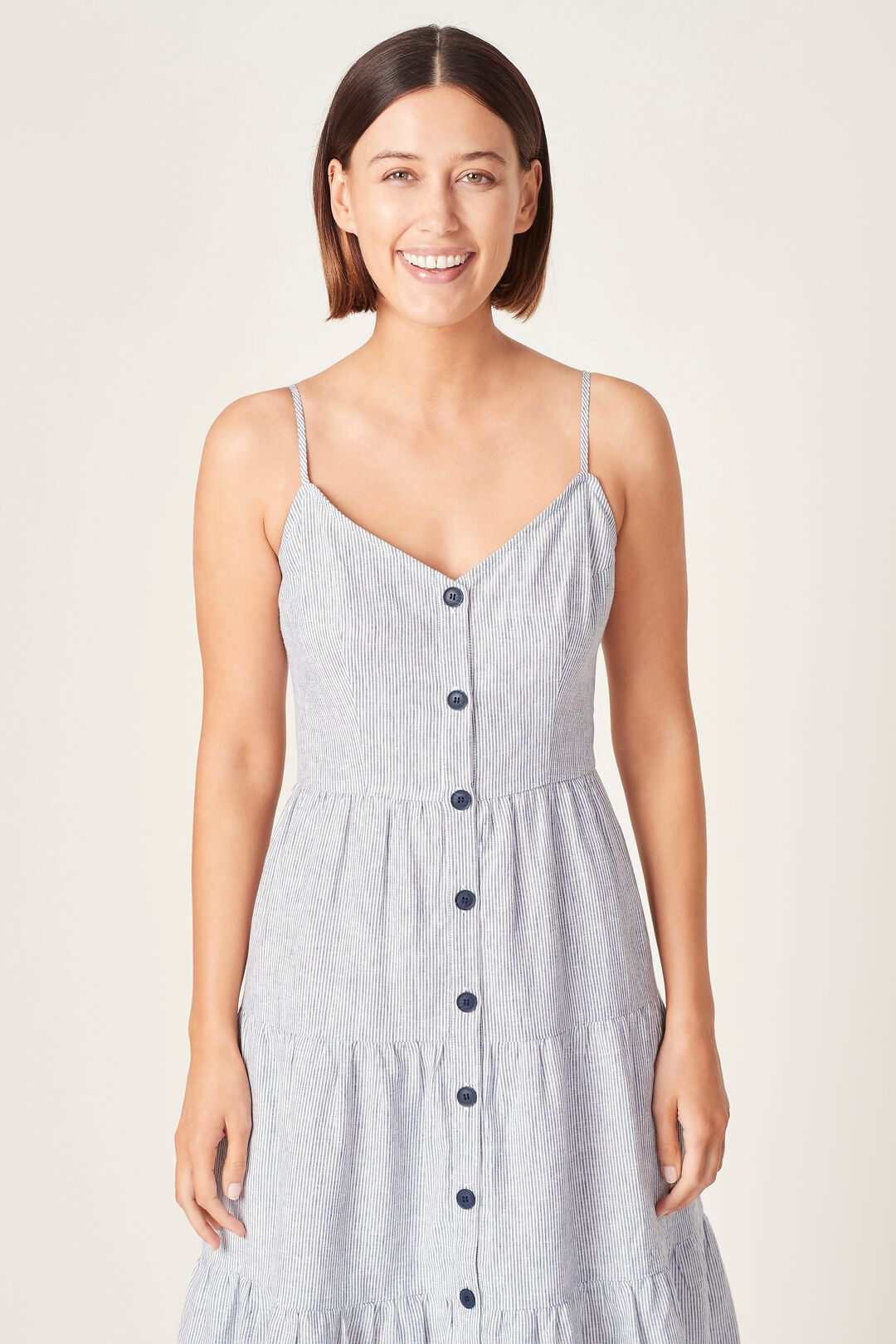 LINEN STRIPE TIERED DRESS  FRENCH NAVY/WHITE  hi-res
