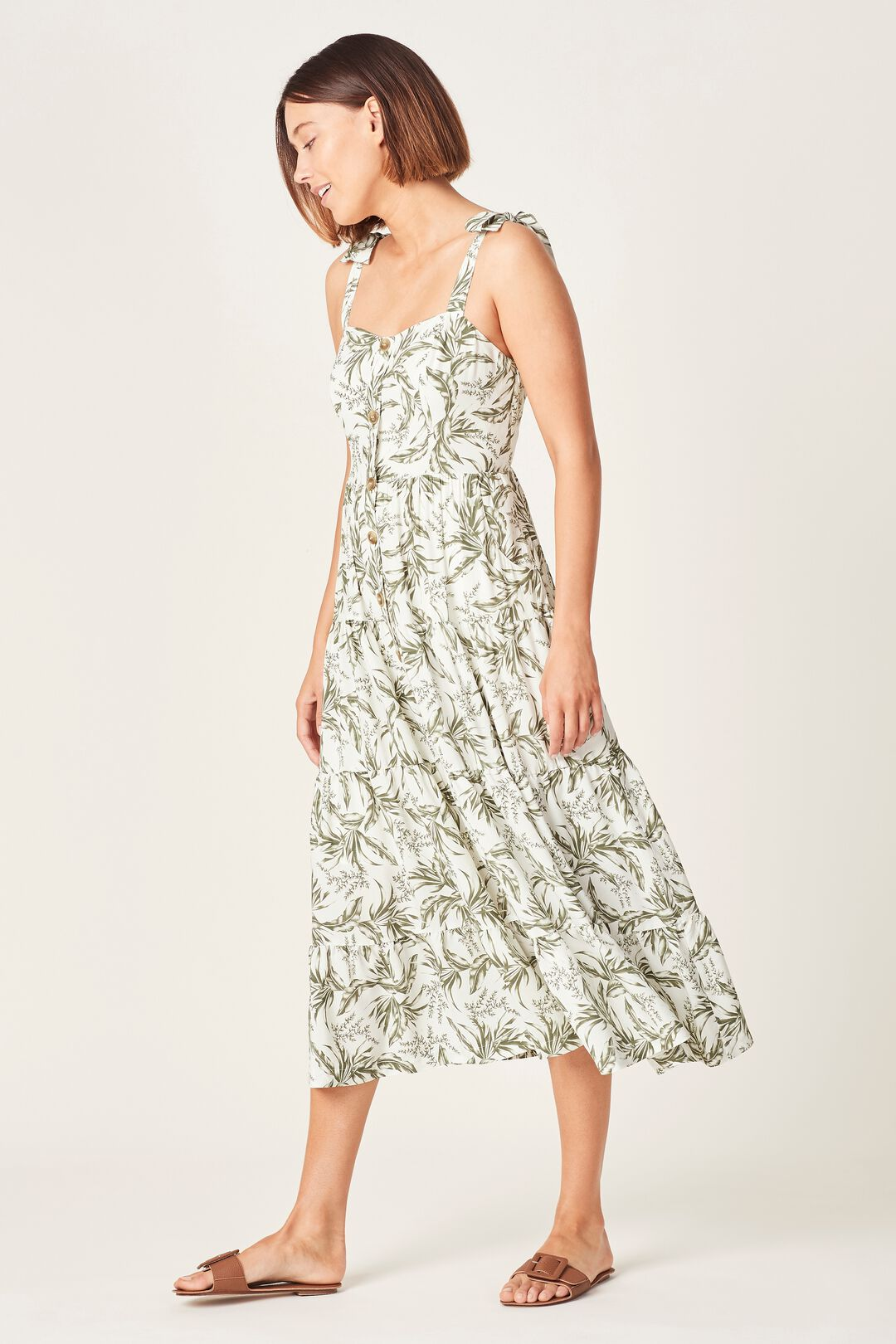 TONAL TROPICAL TIERED DRESS  SUMMER WHITE/WASHED  hi-res