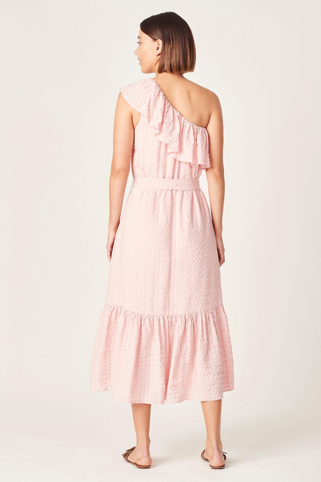 ONE SHOULDER TEXTURED DRESS  SOFT PINK  hi-res