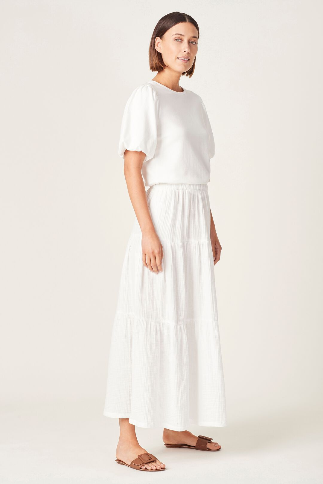 COTTON CRINKLE TIERED SKIRT  SUMMER WHITE  hi-res