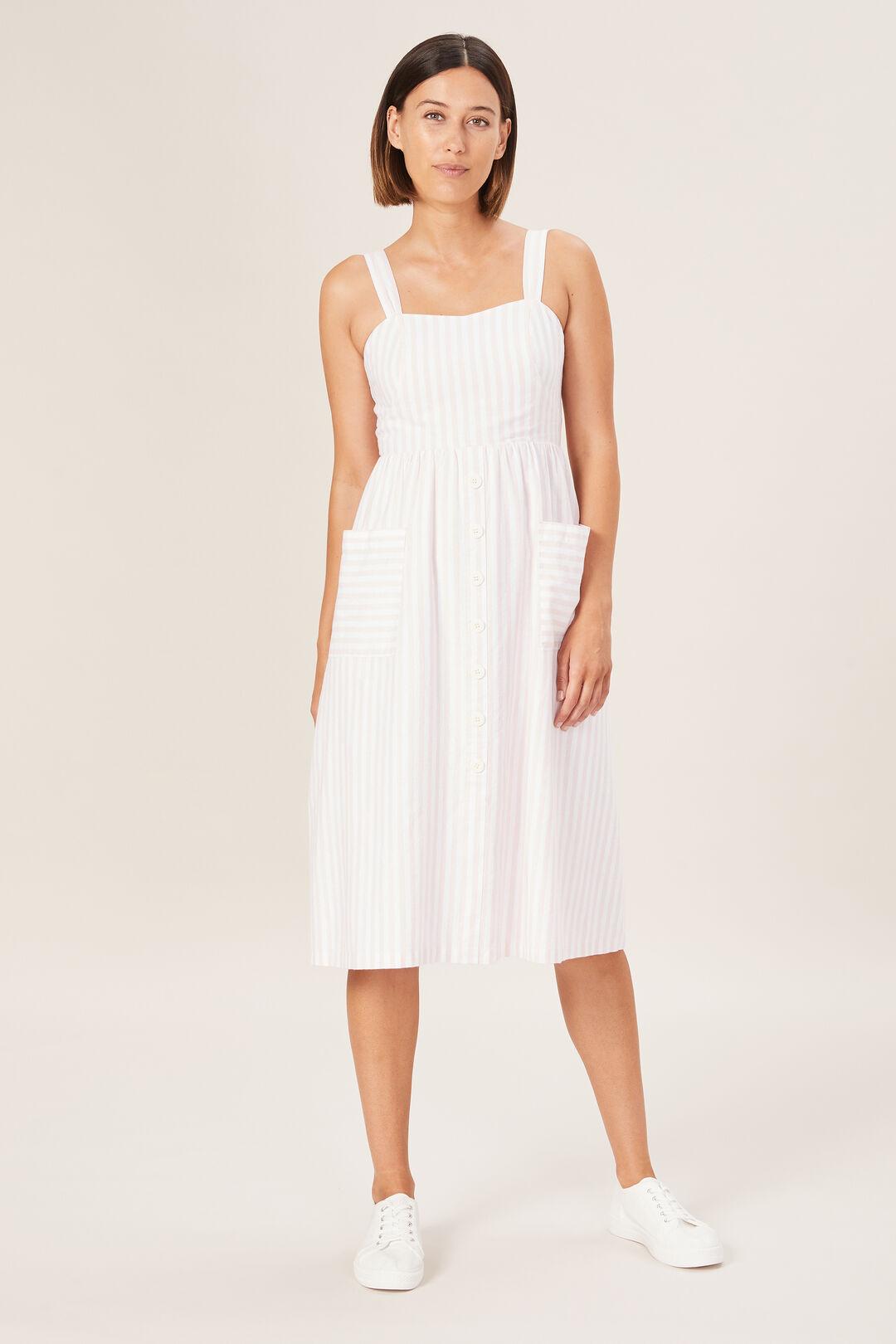 STRIPE BUSTIER DRESS  WASHED PINK/SUMMER W  hi-res