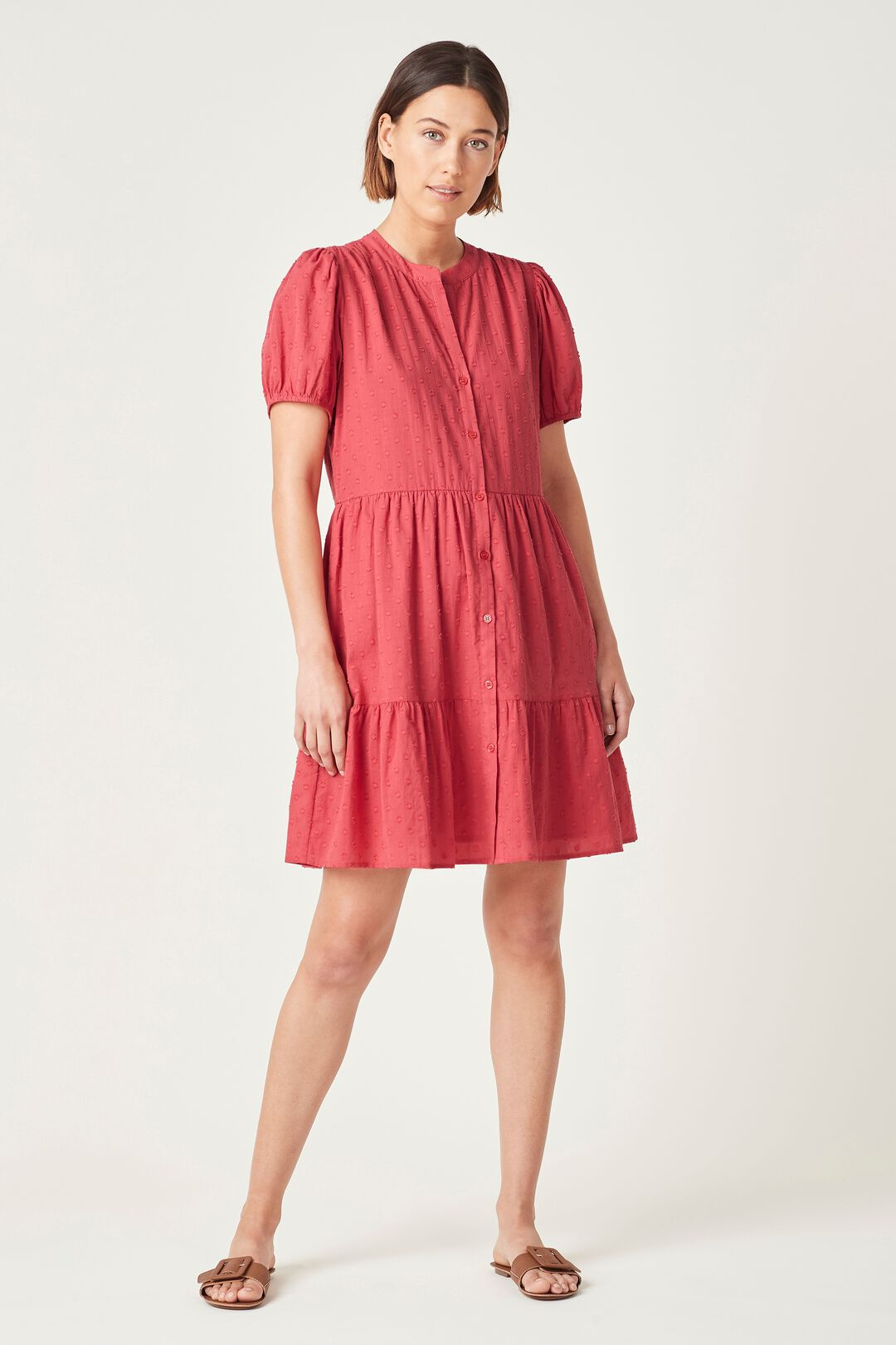 COTTON DOBBY PUFF SLEEVE DRESS  WASHED RED  hi-res