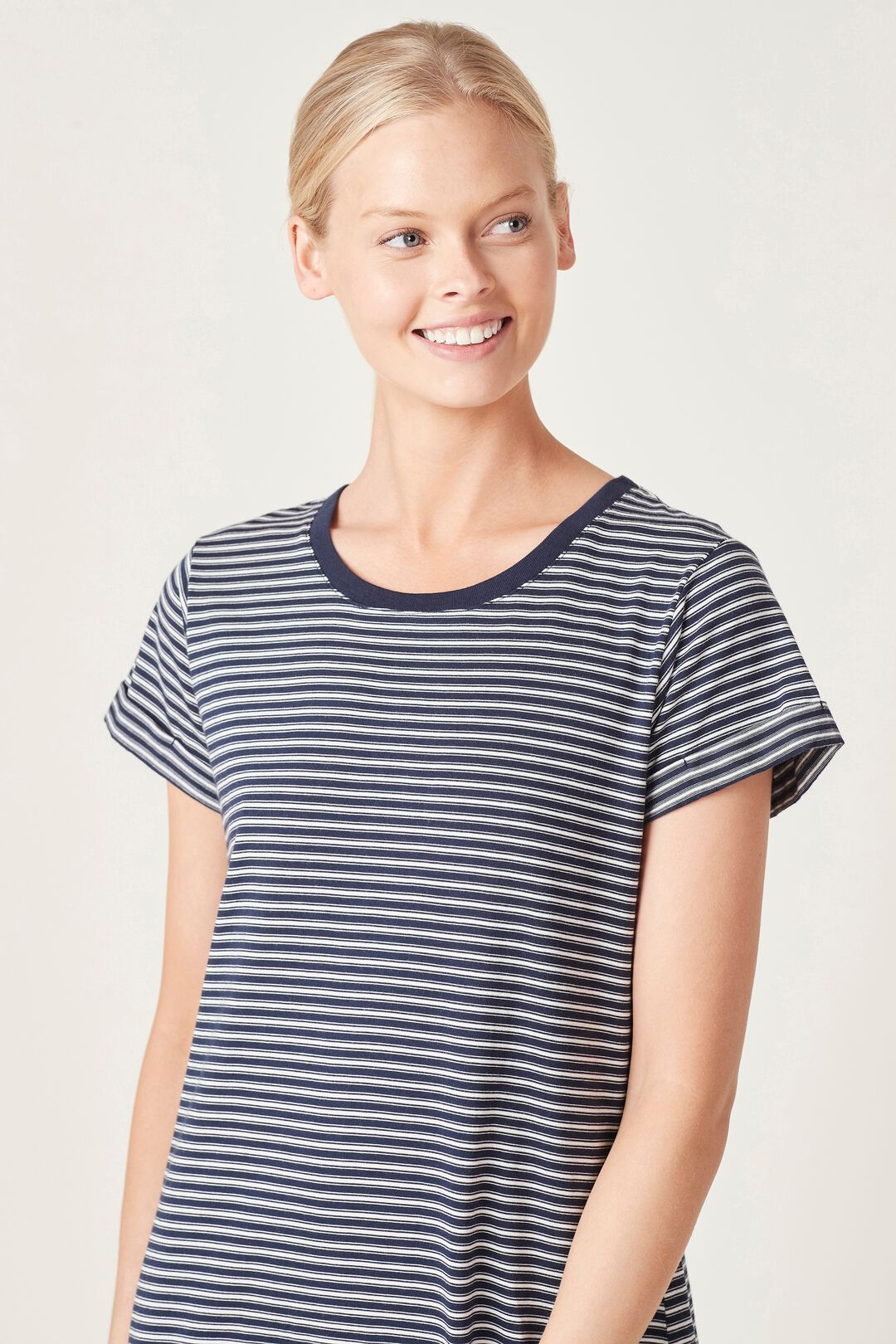 RELAXED T-SHIRT DRESS  FRENCH NAVY/WHITE  hi-res