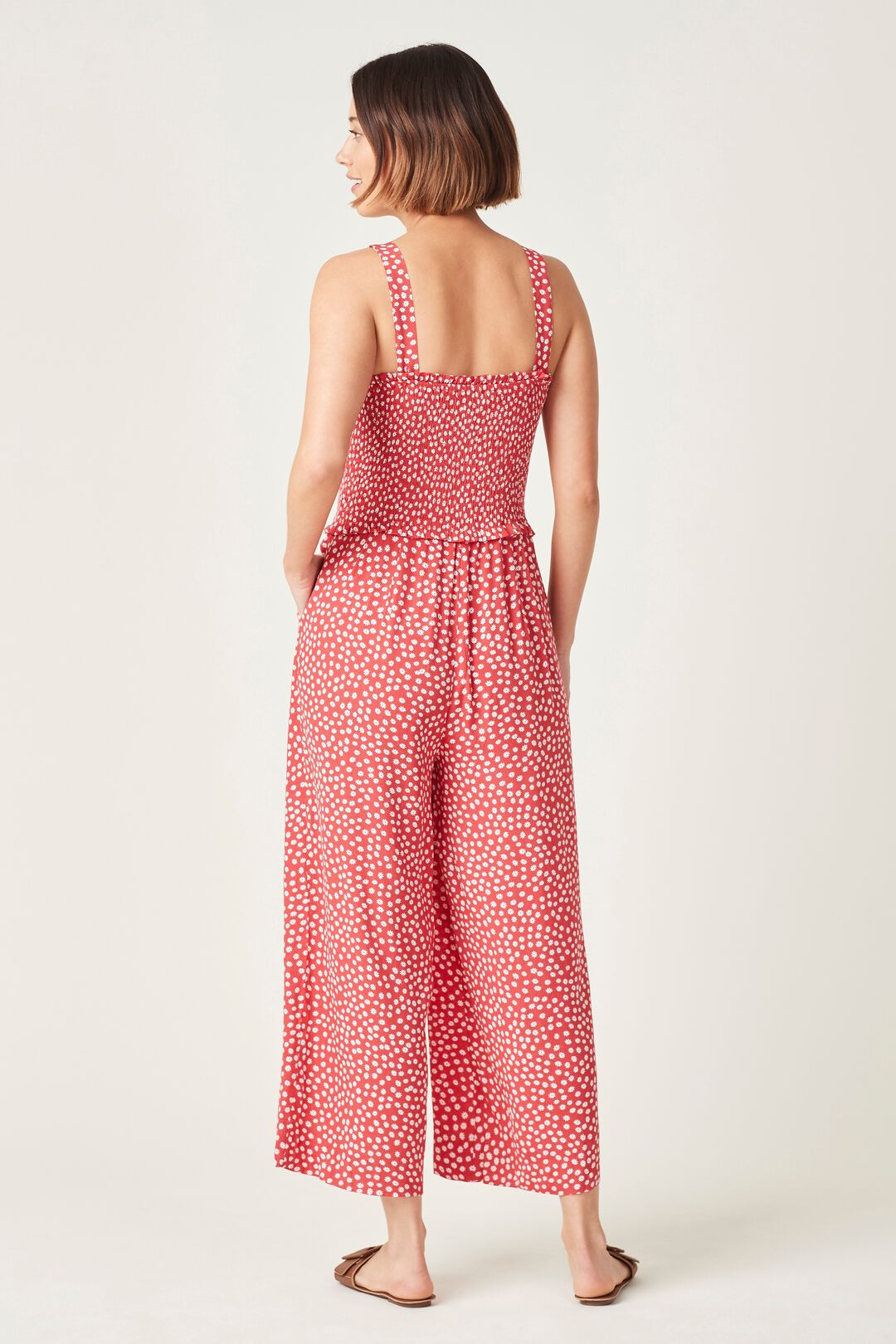SHIRRED BODICE JUMPSUIT  WASHED RED/WHITE  hi-res