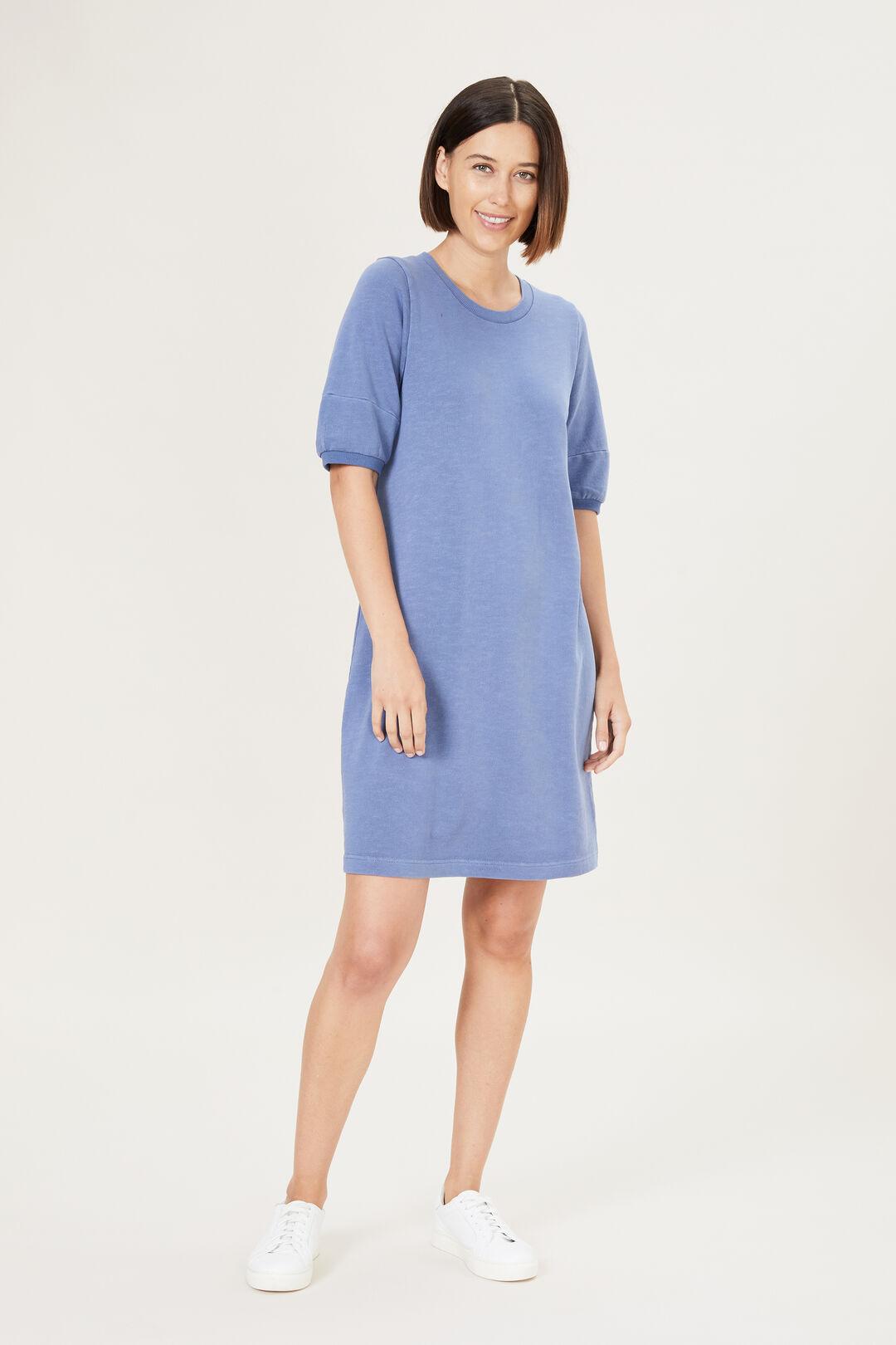 PUFF SLEEVE SWEAT DRESS  ACID SLATE BLUE  hi-res