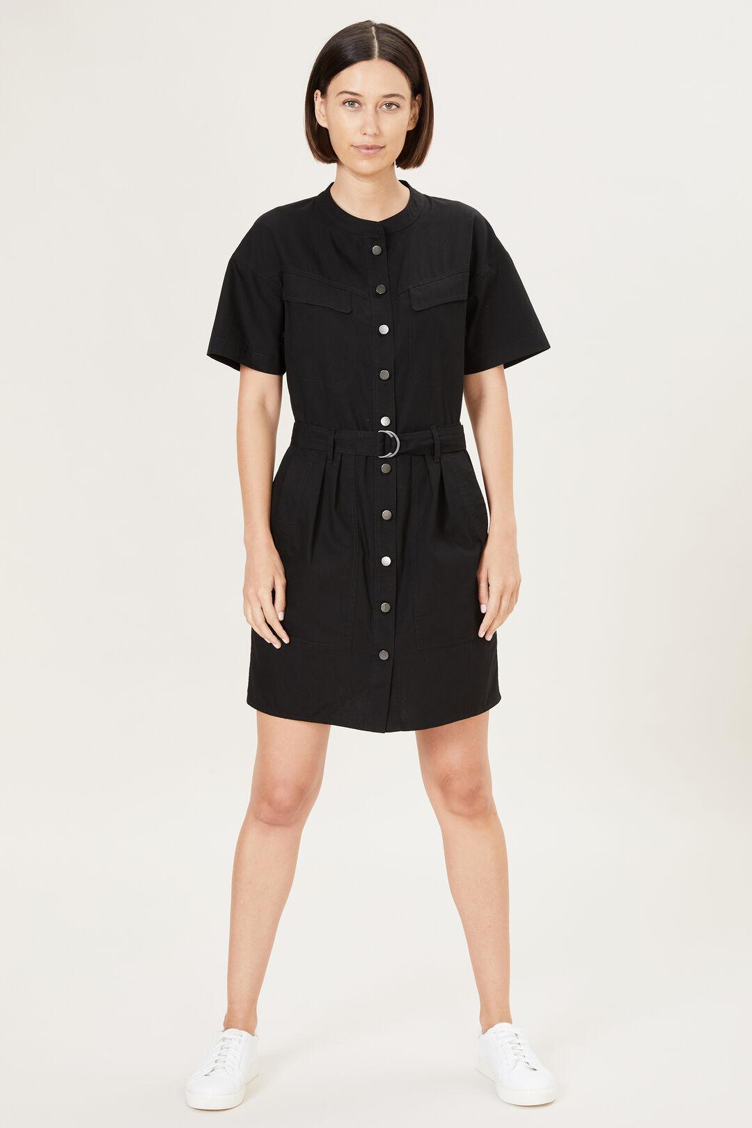 BELTED UTILITY DRESS  BLACK  hi-res