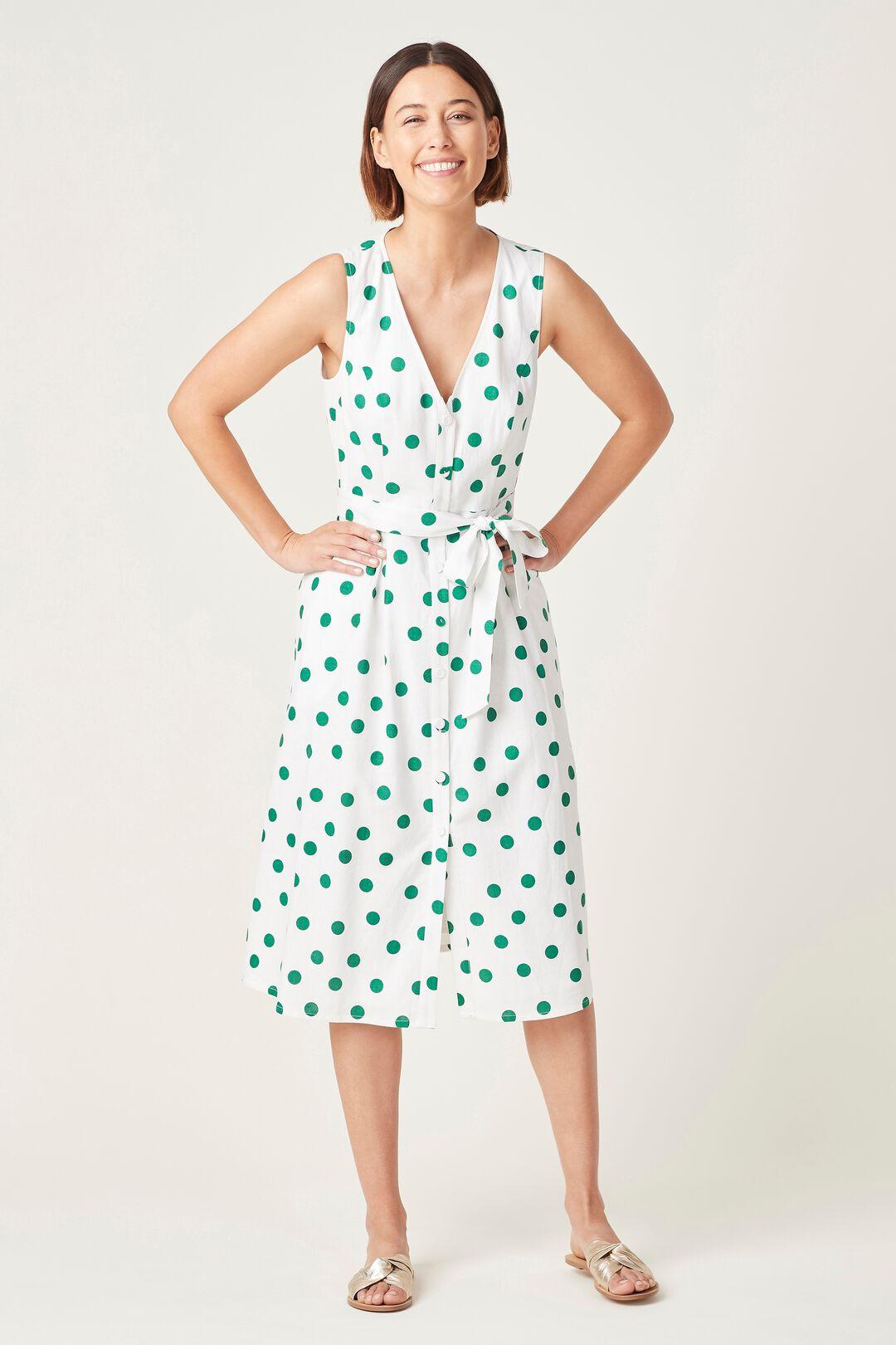 SPOT LINEN BUTTON THROUGH DRESS  WHITE/FERN GREEN  hi-res