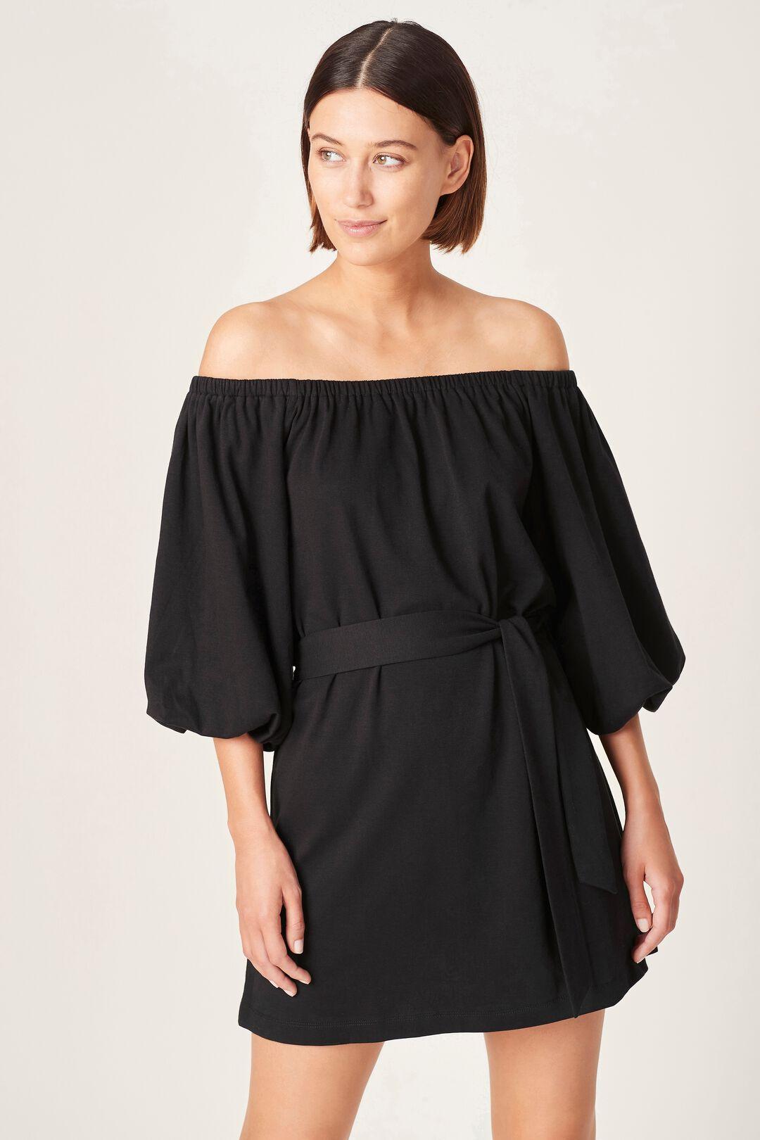 OFF SHOULDER JERSEY DRESS  BLACK  hi-res