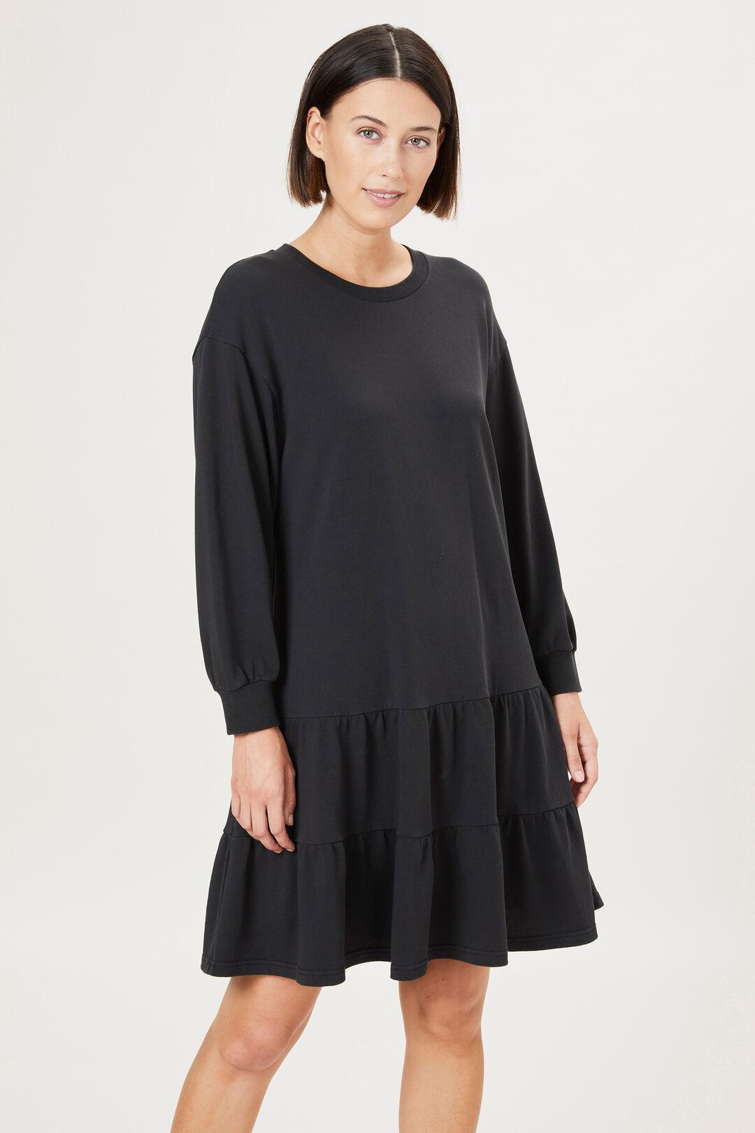 ORGANIC COTTON SWEAT DRESS  BLACK  hi-res