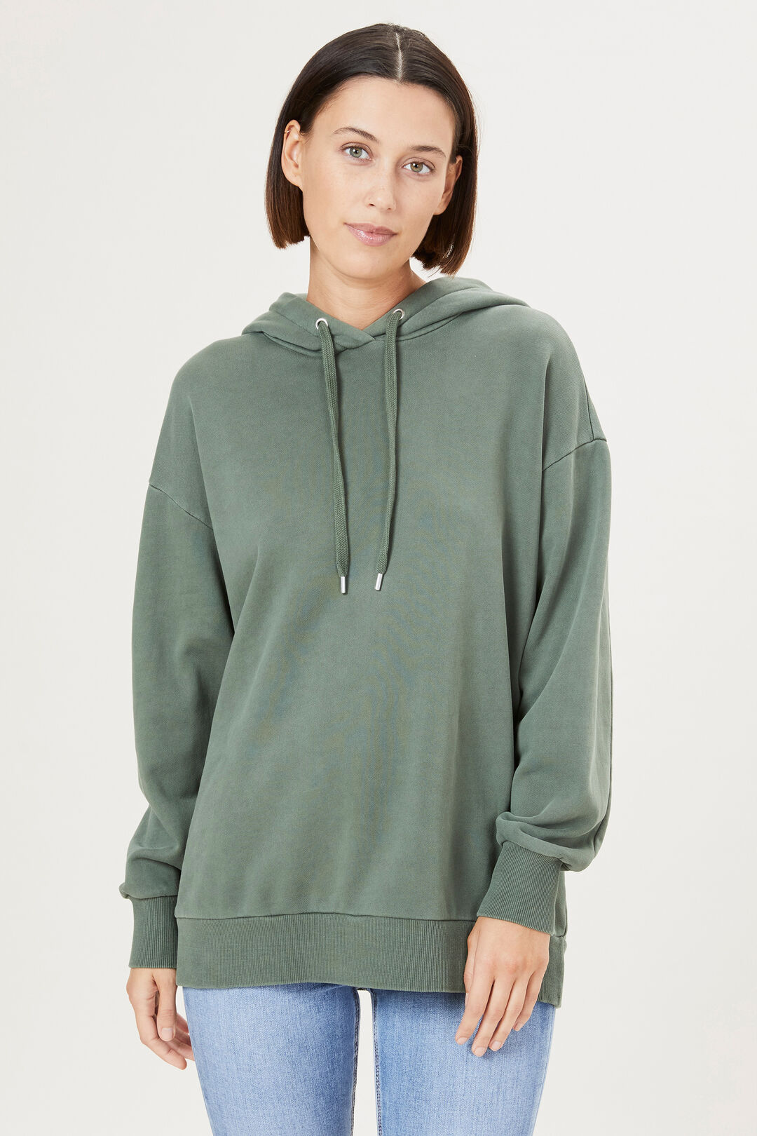 ORGANIC COTTON HOODED SWEAT  OLIVE  hi-res