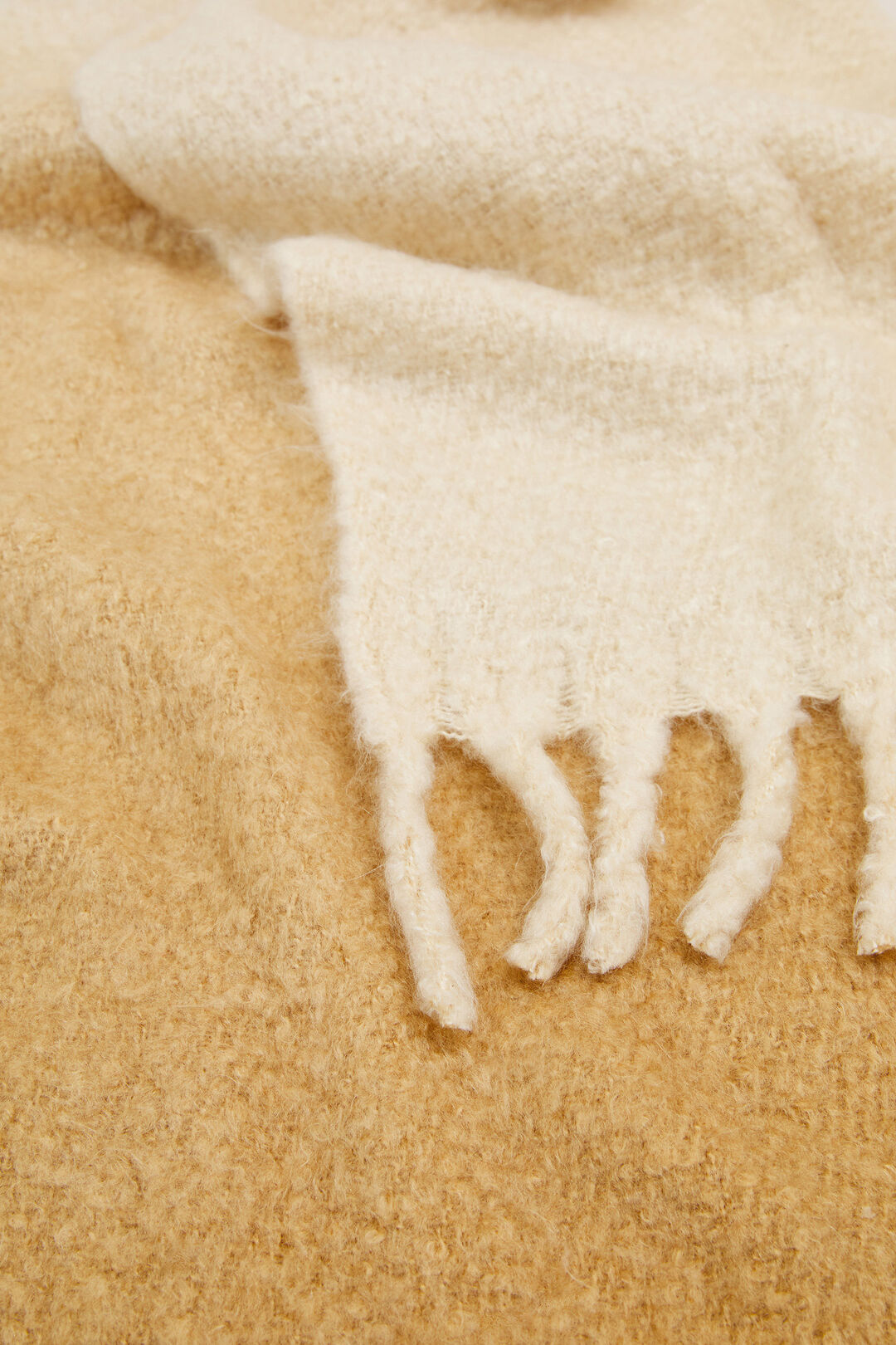 OMBRE FRINGED SCARF  CAMEL  hi-res