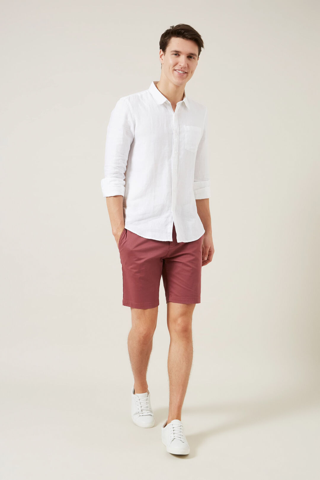 SLIM FIT CHINO SHORT  BERRY  hi-res