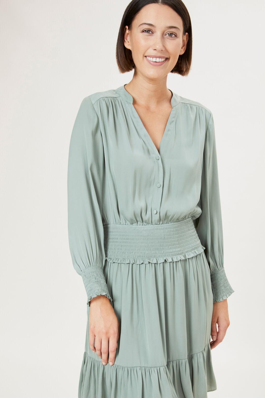 SHIRRED WAIST DRESS  LIGHT KHAKI  hi-res