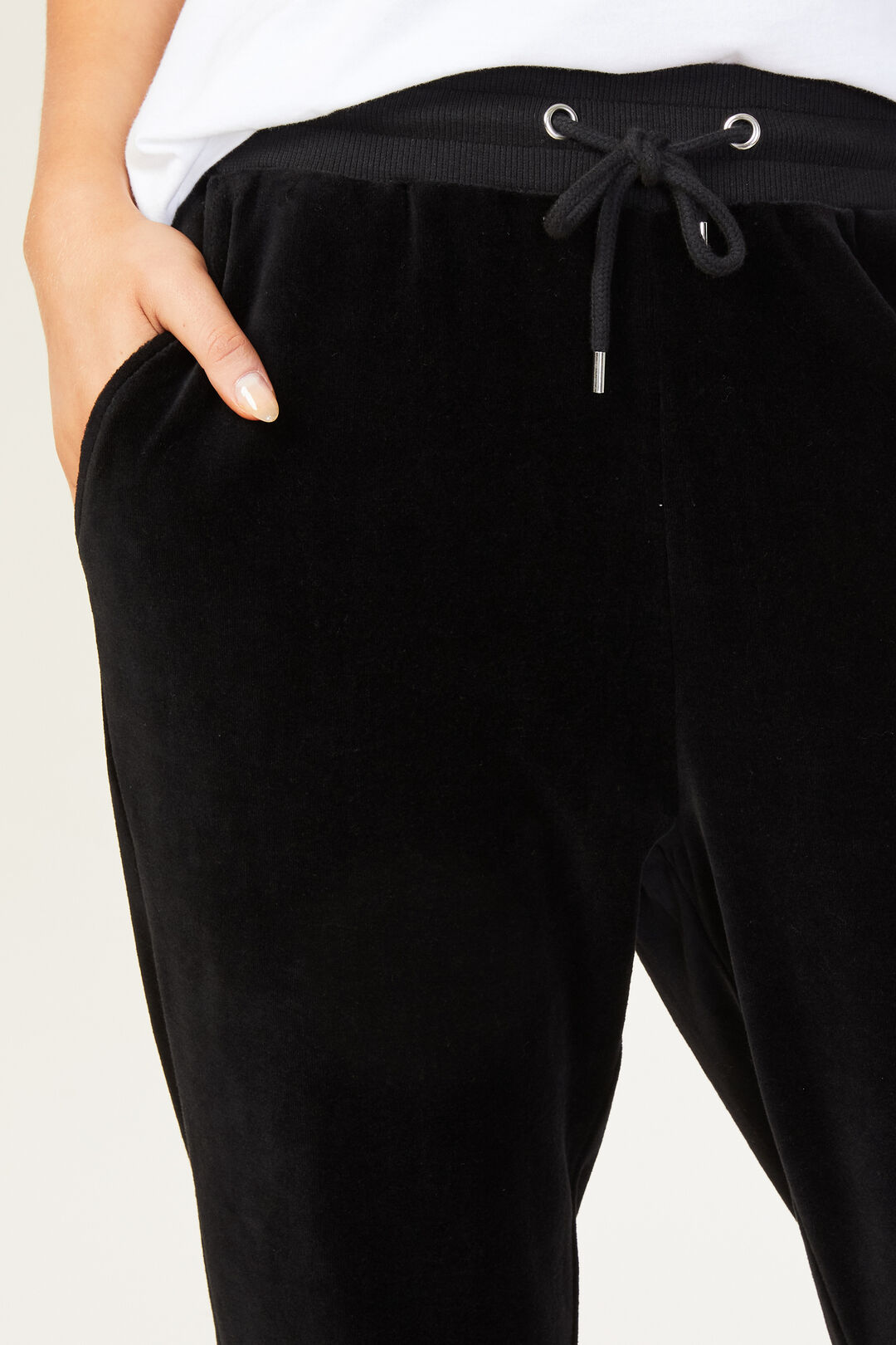 VELOUR TRACK PANT  BLACK  hi-res