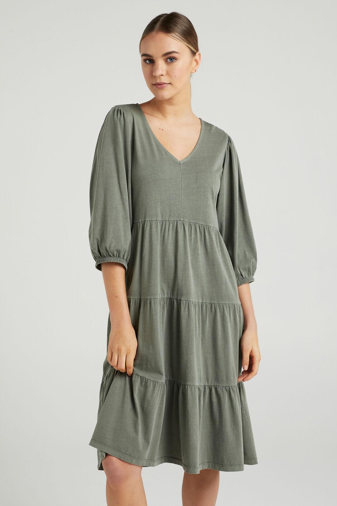 VINTAGE WASH TIERED DRESS  SAGE  hi-res