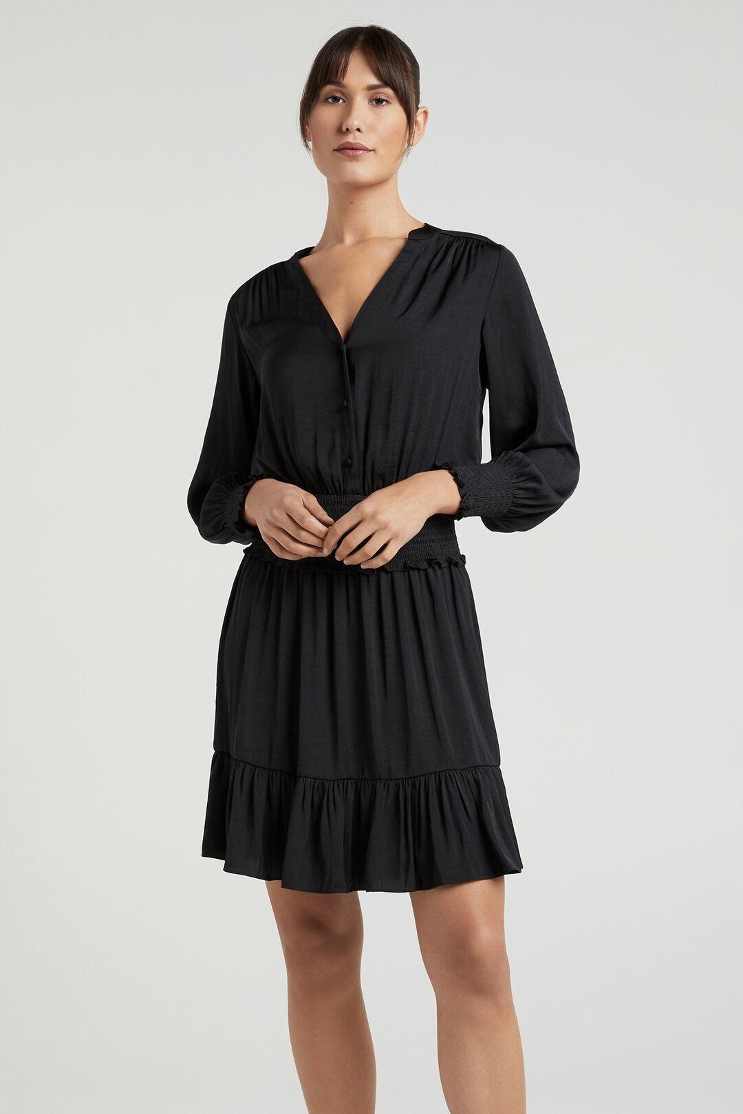 SHIRRED BUTTON THROUGH DRESS  BLACK  hi-res