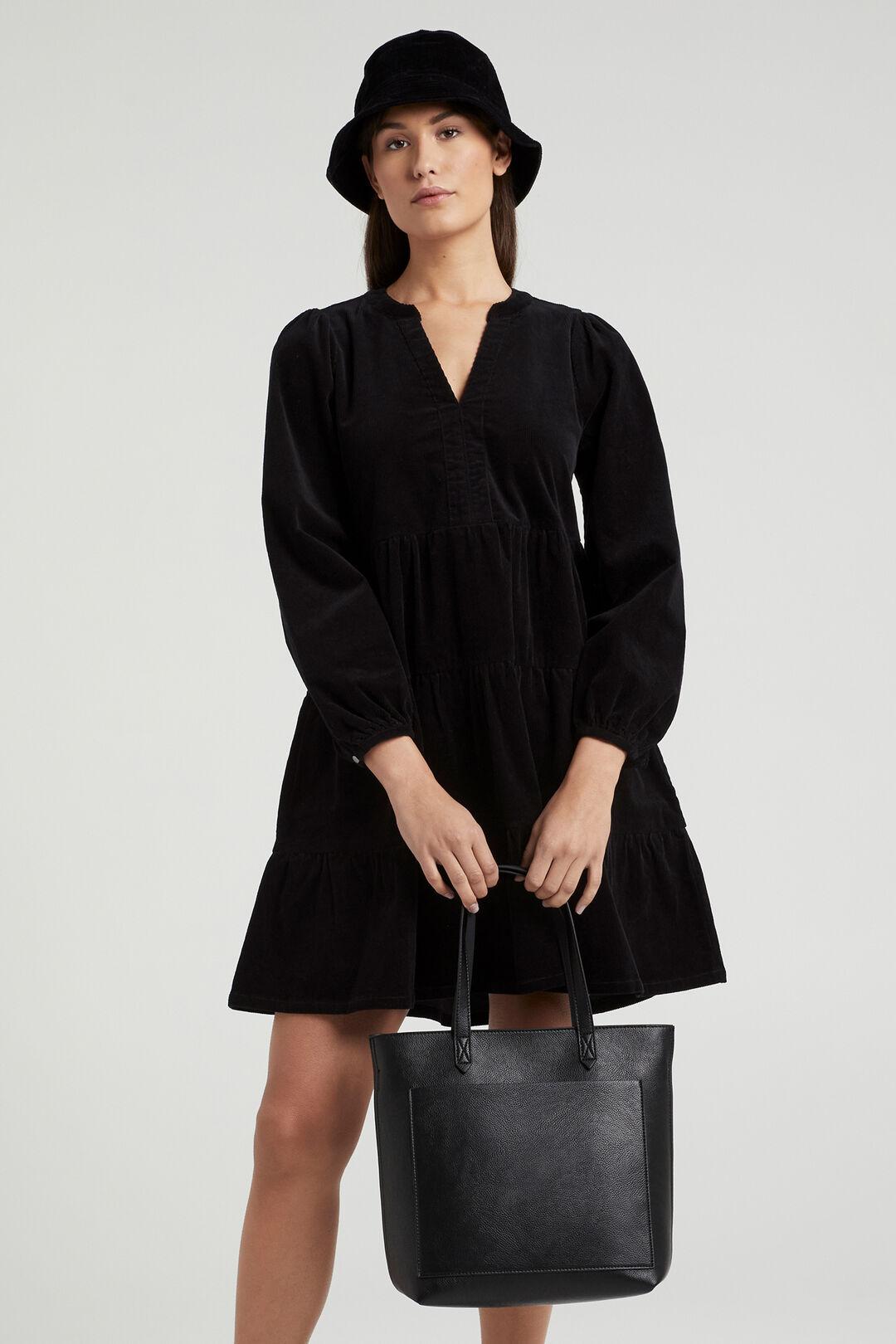 TIERED CORD DRESS  BLACK  hi-res