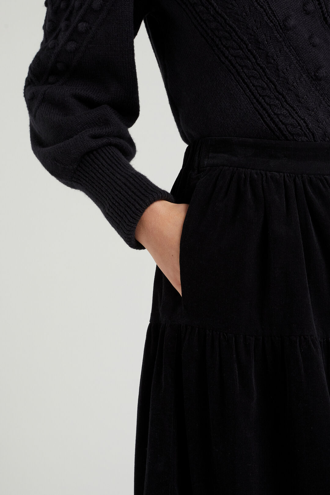 TIERED CORD SKIRT  BLACK  hi-res